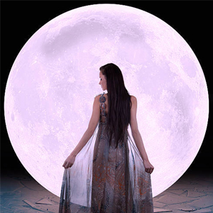 Mystical goddess lady and the full moon