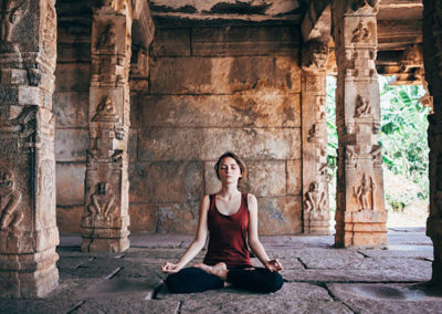 Yoga in ancient temple