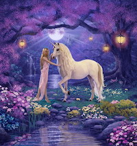 Unicorn and lady in forest - like the mythical ancient land of Maui