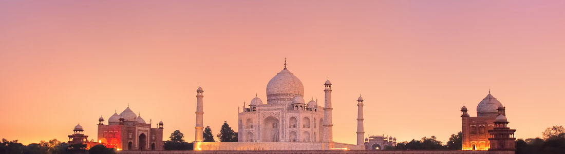 Sacred Taj Mahal temple at sunset